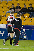 Kristian Ormsby is led from the field by Doctor Mark Fulcher after injuring his left shoulder. Air New Zealand Cup rugby game between Counties Manukau Steelers & Wellington played at Mt Smart Stadium on the 31st August 2007. The Score was 13 all at halftime, with Wellington going on to win 33 - 18.