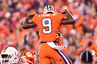 Charlotte, NC - DEC 2, 2017: Clemson Tigers running back Travis Etienne (9) celebrates a touchdown during ACC Championship game between Miami and Clemson at Bank of America Stadium Charlotte, North Carolina. (Photo by Phil Peters/Media Images International)