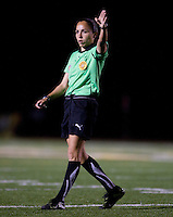 Referee Felisha Mariscal in action during the game between Sky Blue and FC Gold Pride at Castro Valley High School in Castro Valley, California on April 17th, 2010.  FC Gold Pride defeated NY/NJ Sky Blue, 3-1.