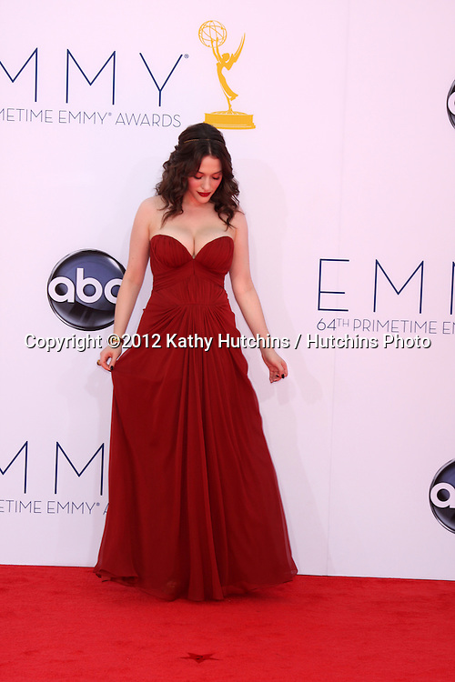 LOS ANGELES - SEP 23:  Kat Dennings arrives at the 2012 Emmy Awards at Nokia Theater on September 23, 2012 in Los Angeles, CA