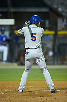 Kenny Hernandez (5) of the Kingsport Mets at bat against the Burlington Royals at Burlington Athletic Stadium on July 27, 2018 in Burlington, North Carolina. The Mets defeated the Royals 8-0.  (Brian Westerholt/Four Seam Images)