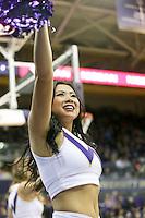 Dec 28, 2015:  Washington cheer member Jade Carson entertained fans during a TV timeout.   Washington defeated UC Santa Barbara 83-78 at Alaska Airlines Arena in Seattle, WA.