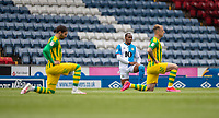 11th July 2020; Ewood Park, Blackburn, Lancashire, England; English Football League Championship Football, Blackburn Rovers versus West Bromwich Albion; Players take the knee to highlight BLM before the start of the match