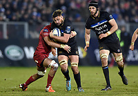 Elliott Stooke of Bath Rugby takes on the Scarlets defence. European Rugby Champions Cup match, between Bath Rugby and the Scarlets on January 12, 2018 at the Recreation Ground in Bath, England. Photo by: Patrick Khachfe / Onside Images