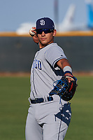 AZL Padres 1 Brandon Valenzuela (7) warms up before an Arizona League game against the AZL Indians Red on June 23, 2019 at the Cleveland Indians Training Complex in Goodyear, Arizona. AZL Indians Red defeated the AZL Padres 1 3-2. (Zachary Lucy/Four Seam Images)