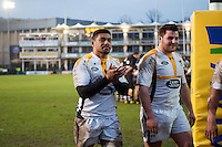 Charles Piutau and Tom Bristow of Wasps after the match. Aviva Premiership match, between Bath Rugby and Wasps on February 20, 2016 at the Recreation Ground in Bath, England. Photo by: Patrick Khachfe / Onside Images