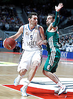 Real Madrid's Rudy Fernandez (l) and Zalgiris Kaunas' Marko Popovic during Euroleague 2012/2013 match.January 11,2013. (ALTERPHOTOS/Acero) NortePHOTO