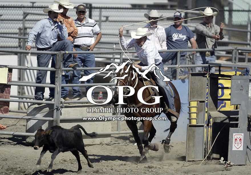 27 Aug 2009:  Nate Baldwin from Blackfoot, Idaho was not able to score in the Tie Down roping competition at the Kitsap County Thunderbird PRCA Pro Rodeo in Bremerton, Washington.