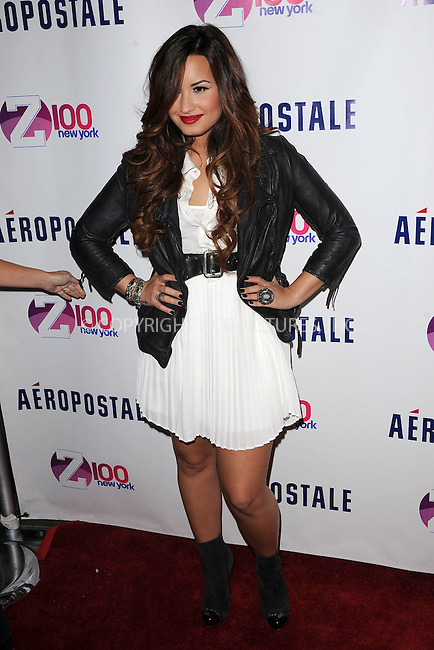 WWW.ACEPIXS.COM . . . . . .October 21, 2011...New York City...Singer Demi Lovato attends Z100's Jingle Ball 2011 Official Kick Off Party presented By Aeropostale at Aeropostale Times Square on October 21, 2011 in New York City.....Please byline: KRISTIN CALLAHAN - ACEPIXS.COM.. . . . . . ..Ace Pictures, Inc: ..tel: (212) 243 8787 or (646) 769 0430..e-mail: info@acepixs.com..web: http://www.acepixs.com .