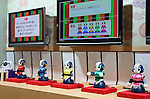 """April 30, 2016, Chiba, Japan - Japan's telecommunication giant NTT displays robot ogiriashow, humanoid robots Sota give unique coments to various topics during the Niconico Chokaigi in Chiba on Saturday, April 30, 2016. Some 150,000 visitors enjoyed over 100 booths including games, hobbies, sports, politics as well as Japan's sub cultures at the two-day offline meeting sponsored by Japan's video sharing website """"Niconico Douga"""".  (Photo by Yoshio Tsunoda/AFLO) LWX -ytd-"""