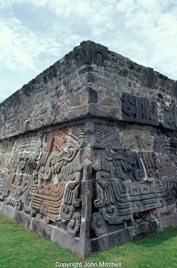 Pyramid of the Feathered Serpent at the ruins of Xochicalco near Cuernavaca, Morelos, Mexico. Xochicalco flourished between 700 and 900 AD and was once one of the most important ciities in Mesoamerica. Xochicalco was declared a UNESCO World Heritage Site in 1999.