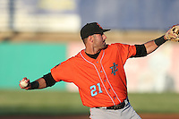 Kaleb Cowart (21) of the Inland Empire 66ers makes a throw during a game against the High Desert Mavericks at Mavericks Stadium on May 6, 2015 in Adelanto, California. Inland Empire defeated High Desert, 10-4. (Larry Goren/Four Seam Images)