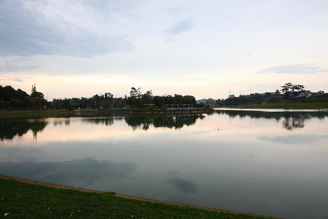 Xuan Huong Lake at sunset. Dalat, Vietnam April 17, 2016.