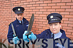 Garda Joe Ryan and Garda Cathy Murphy pictured at Tralee Garda Station on Tuesday to highlight Knife crime prevention week.