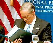 "Washington, D.C. - August 5, 2006 -- Governor George Pataki of New York goes over the text of his speech on ""Energy Freedom, Putting and End to Foreign Oil's Dangerous Grip on America's Future"" before delivering it at the National Press Club in Washington, D.C. on August 7, 2006.  In his remarks, Pataki called for the United States to be energy independent in 10 years.<br /> Credit: Ron Sachs / CNP"