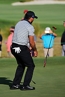 Jason Day (AUS) barely misses his putt on 16 during round 2 Four-Ball of the 2017 President's Cup, Liberty National Golf Club, Jersey City, New Jersey, USA. 9/29/2017.<br /> Picture: Golffile | Ken Murray<br /> <br /> All photo usage must carry mandatory copyright credit (&copy; Golffile | Ken Murray)