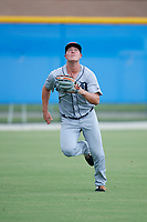 GCL Tigers West left fielder Kerry Carpenter (35) tracks a fly ball during a Gulf Coast League game against the GCL Blue Jays on August 3, 2019 at the Englebert Complex in Dunedin, Florida.  GCL Blue Jays defeated the GCL Tigers West 4-3.  (Mike Janes/Four Seam Images)