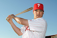 Feb 20, 2009; Clearwater, FL, USA; The Philadelphia Phillies infielder Greg Dobbs (19) during photoday at Bright House Field. Mandatory Credit: Tomasso De Rosa/ Four Seam Images
