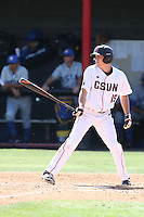 Justin Toerner (15) of the Cal State Northridge Matadors bats during a game against the UC Santa Barbara Gouchos at Matador Field on April 10, 2015 in Northridge, California. UC Santa Barbara defeated Cal State Northridge, 7-4. (Larry Goren/Four Seam Images)