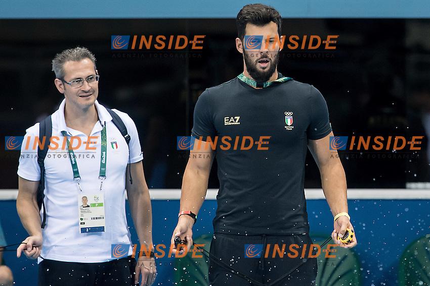 Fabrizio Bastelli, Matteo Giunta coach ITA Italy<br /> training<br /> Rio de Janeiro 04-08-2016 XXXI Olympic Games <br /> Olympic Aquatics Stadium <br /> Swimming <br /> Photo Giorgio Scala/Deepbluemedia/Insidefoto