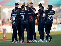 Fred Klaassen (C) of Kent is congratulated after taking the wicket of Aaron Finch during Kent Spitfires vs Surrey, Vitality Blast T20 Cricket at the St Lawrence Ground on 23rd August 2019
