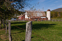 Fence, tree, and barn with silo-Maryland.
