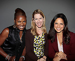 Deborah Koenigsberger, Soledad O'Brien (R) and friend at Nolcha Fashion Week New York on September 8, 2014 at Eyebeam Atelier - 540 W. 21st St, New York City, New York. (Photo by Sue Coflin/Max Photos)