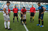 San Jose, CA - Tuesday June 11, 2019: Coin toss participants before the US Open Cup match between the San Jose Earthquakes and Sacramento Republic FC at Avaya Stadium.