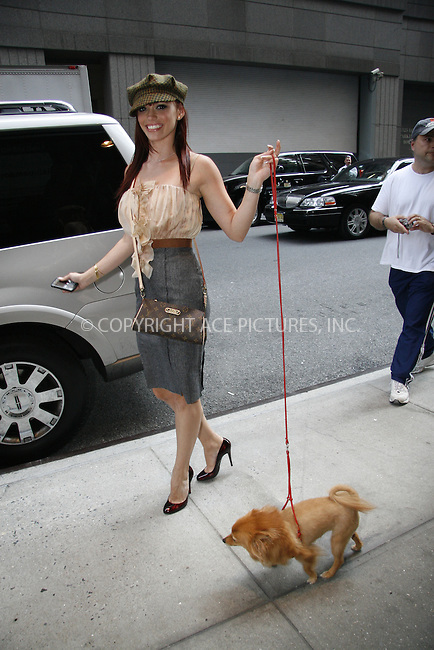 WWW.ACEPIXS.COM . . . . .  ....September 4, 2008. New York City.....Singer Jessica Sutta of the Pussycat Dolls walks her dog Star outside her NY hotel on September 4, 2008 in New York City.......Please byline: Stan Rose/Nancy Rivera- ACEPIXS.COM.... *** ***..Ace Pictures, Inc:  ..Philip Vaughan (646) 769 0430..e-mail: info@acepixs.com..web: http://www.acepixs.com