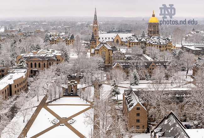 March 23, 2020; View of campus after a snowfall from the roof of the Hesburgh Library.  (Photo by Barbara Johnston/University of Notre Dame)
