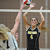 Courtney Cardona #4 of Wantagh defends against a spike attempt by Diana Farrell #7 of Lynbrook during a Nassau County Conference A1 varsity girls volleyball match at Lynbrook High School on Thursday, Sept. 8, 2016. Wantagh won the match 3-1.