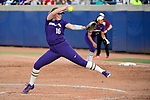 OKLAHOMA CITY, OK - JUNE 04: Gabbie Plain #16 of the Washington Huskies pitches against the Florida State Seminoles during the Division I Women's Softball Championship held at USA Softball Hall of Fame Stadium - OGE Energy Field on June 4, 2018 in Oklahoma City, Oklahoma. (Photo by Tim Nwachukwu/NCAA Photos via Getty Images)