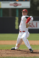 Ball State Cardinals pitcher Zach Plesac (11) during a game against the University of Kentucky Wildcats at Brooks Field on the campus of University of North Carolina-Wilmington on February 13, 2015 in Wilmington, North Carolina. Kentucky defeated Ball State 11-7. (Robert Gurganus/Four Seam Images)