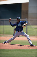 Seattle Mariners relief pitcher Edwin Martinez (67) delivers a pitch during an Extended Spring Training game against the San Francisco Giants Orange at the San Francisco Giants Training Complex on May 28, 2018 in Scottsdale, Arizona. (Zachary Lucy/Four Seam Images)
