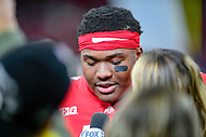 Indianapolis, IN - DEC 1, 2018: Ohio State Buckeyes quarterback Dwayne Haskins (7) being interviewed by Fox Sports after defeating the Northwestern Wildcats 45-24 in the Big Ten Championship game at Lucas Oil Stadium in Indianapolis, IN. (Photo by Phillip Peters/Media Images International)