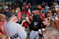 Pittsburgh Pirates Garth Brooks (7) is mobbed by fans as he signs autographs after the teams first Spring Training practice on February 18, 2019 at Pirate City in Bradenton, Florida.  (Mike Janes/Four Seam Images)