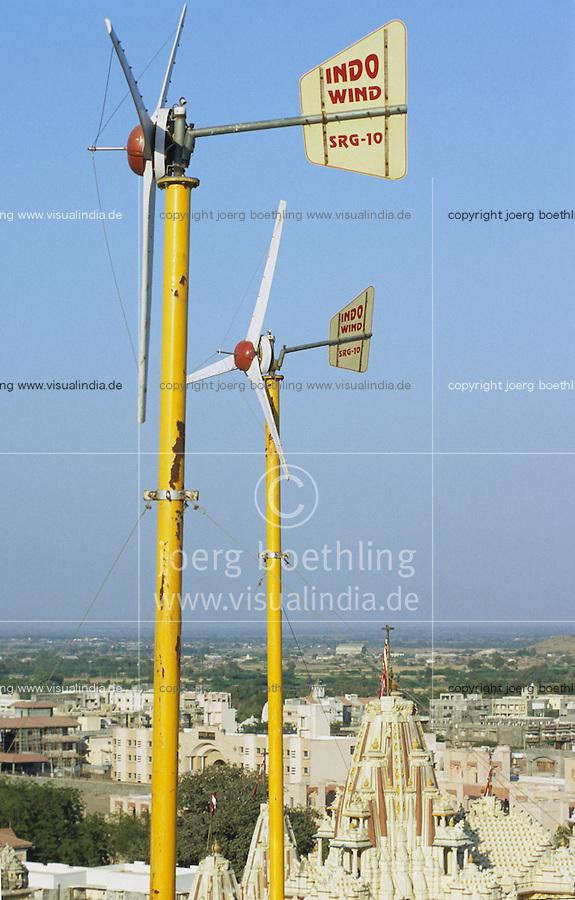 INDIA Gujarat, Palitana, small windmill at Jain temple in Palitana / INDIEN Gujarat Gujerat, kleine Windanlage auf der Jainas Tempelanlage in Palitana