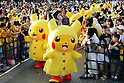 """August 12, 2016, Yokohama, Japan - Pikachu characters, Nintendo's videogame software Pokemon's wellknown character, in raincoat perform dancing at a show """"Super Soaking Splash Show"""" in Yokohama, suburban Tokyo on Friday, August 12, 2016. The Pikachu mascots perfom the several shows daily to attract summer vacationers as a part of the """"Great Pikachu Outbreak"""" event through August 14.    (Photo by Yoshio Tsunoda/AFLO) LWX -ytd-"""