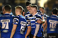 Angus Hinton and Wil Partington of Bath United after the final whistle. Premiership Rugby Shield match, between Bath United and Gloucester United on April 8, 2019 at the Recreation Ground in Bath, England. Photo by: Patrick Khachfe / Onside Images