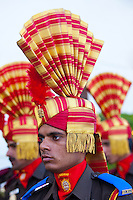 Jai Mewar ceremonial guard of 76th Maharana of Mewar, Shriji Arvind Singh Mewar of Udaipur, at the City Palace, Rajasthan, India