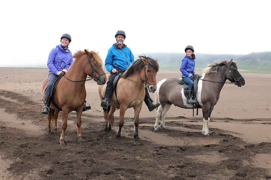 Family riding icelandic horses on sandy beach, Snæfellsnes Peninsula, West Iceland