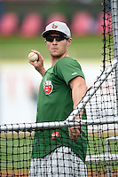 Fort Wayne TinCaps manager Michael Collins (10) during practice before a game against the Lake County Captains on August 21, 2014 at Classic Park in Eastlake, Ohio.  Lake County defeated Fort Wayne 7-8.  (Mike Janes/Four Seam Images)