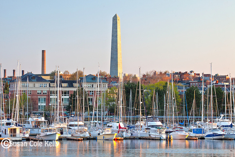 The Bunker Hill Monument in Charlestown, Boston National Historical Park, Boston, MA, USA