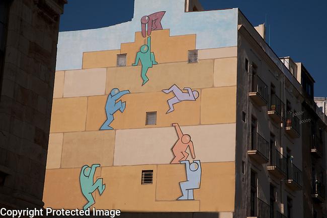 Wall Mural showing Team Work in Tarragona, Catalonia, Spain