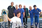 ON THE RUN:  Breda Barrett from Ballydesmond who is running in the Dublin City Marathon to rise funds for the Accident and Emergency Department at Kerry General Hospital. She is pictured with staff from the A&E Department on Friday last..L/r. Zeyn Mahgred, Margaret Houlihan, Noirin Taylor, Johnny O'Connell (Ballydesmond), Karena Gilligan and Mairead O'Sullivan..   Copyright Kerry's Eye 2008