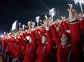 9th February 2018, Pyeongchang, South Korea; 2018 Winter Olympic Games; PyeongChang Olympic Stadium; North Korean cheerleaders waving their arms in support of their team during the Opening Ceremony