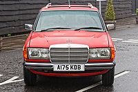 front view of the Mercedes W123 series 230TE estate version, outside the Penderyn Whisky Distillery in south Wales, UK. Tuesday 19 June 2018