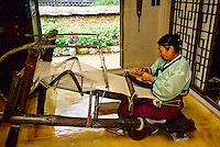 Korean woman weaving, Korean Folk Village, near Suwon, South Korea