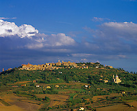 Tuscany, Italy      <br /> Ancient hilltown of Montepulciano, Chiesa San Biagio with surrounding fields and forests