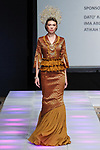 Model walks runway in an outfit from the Sara Jamaludin collection for Couture Fashion Week Spring 2018 at the Crowne Plaza Times Square in Manhattan, on September 8, 2017; during New York Fashion Week.